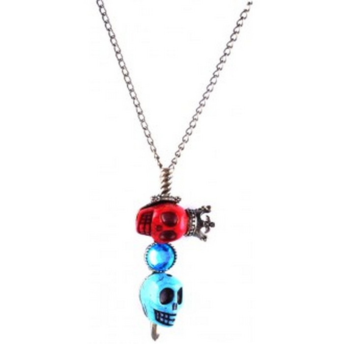 Bronze necklace with red, blue and rhinestone skulls.